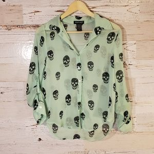 Skull full button down blouse
